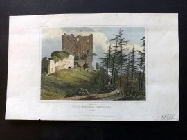 Dugdale C1840 Hand Col Print. Keep of Guildford Castle, Surrey